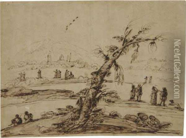Landscape With A Large Tree And Figures Oil Painting - Guercino