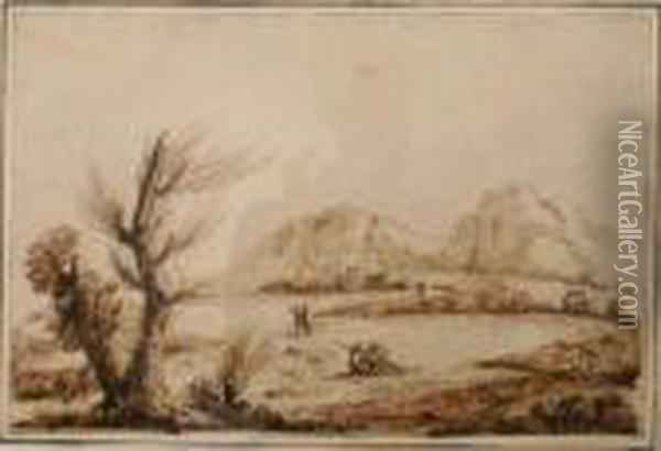 Landscape With Fishermen Oil Painting - Guercino