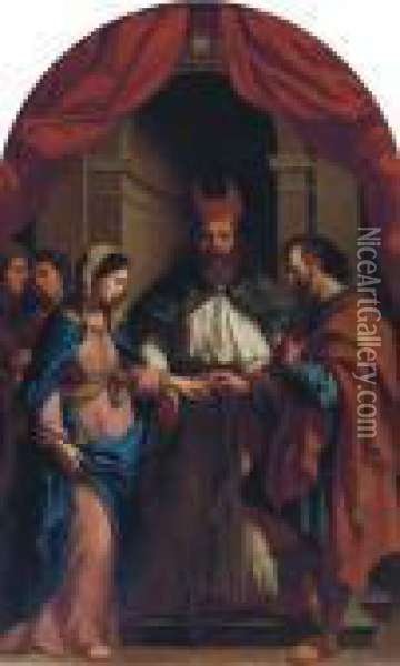 The Marriage Of The Virgin Oil Painting - Guercino