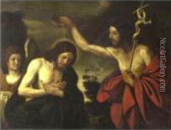 Baptism Of Christ Oil Painting - Guercino