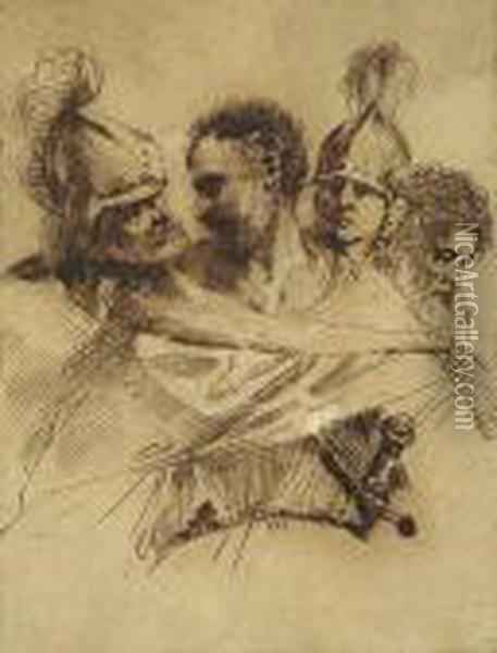 Studies Of Four Men's Heads: Two Soldiers And Two Beardedmen Oil Painting - Guercino