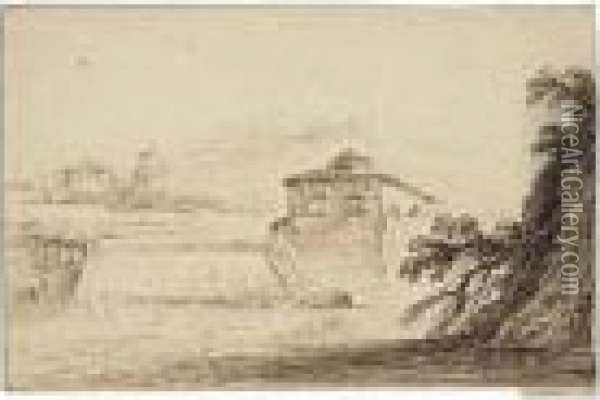 Landscape With A House By A Lake And A Waterfall Oil Painting - Guercino