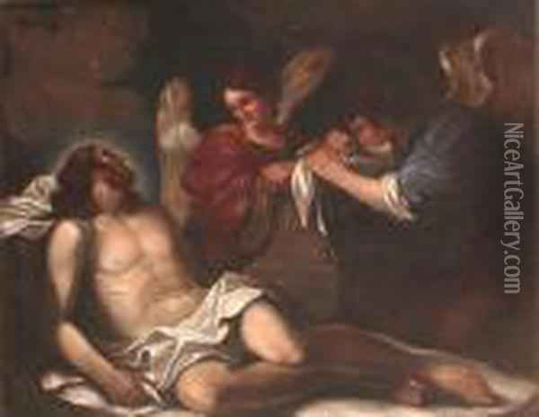 The Dead Christ Mourned By Two Angels Oil Painting - Guercino