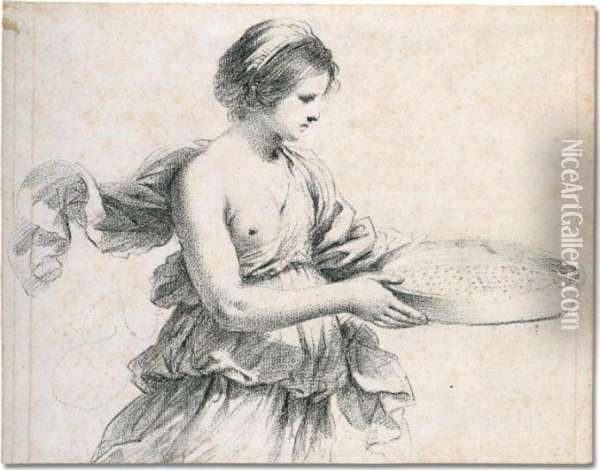A Young Woman Holding A Sieve Oil Painting - Guercino