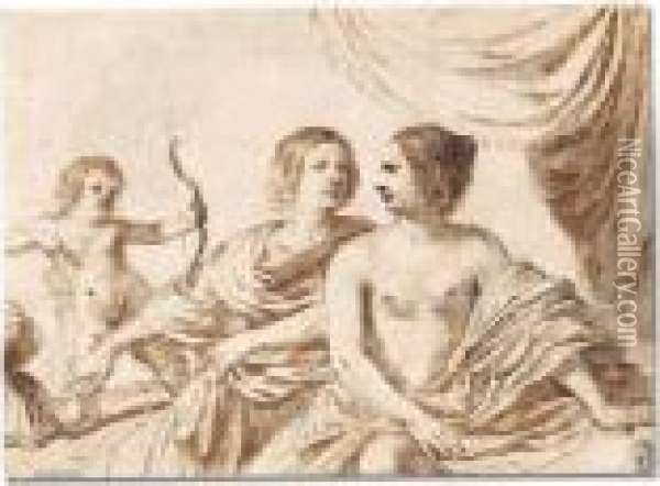Mars, Venus And Cupid Oil Painting - Guercino