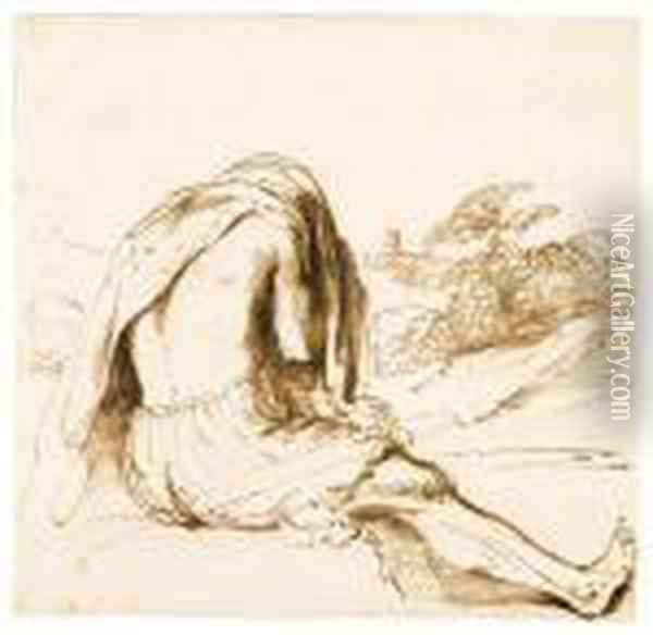 Barbieri, G.f. A Bather Seated On A River Bank, Pulling Off His Shirt Pen And Brown Ink, Minor Ink Gall Damages Repaired, Watermarkencircled Calvary Under P Oil Painting - Guercino