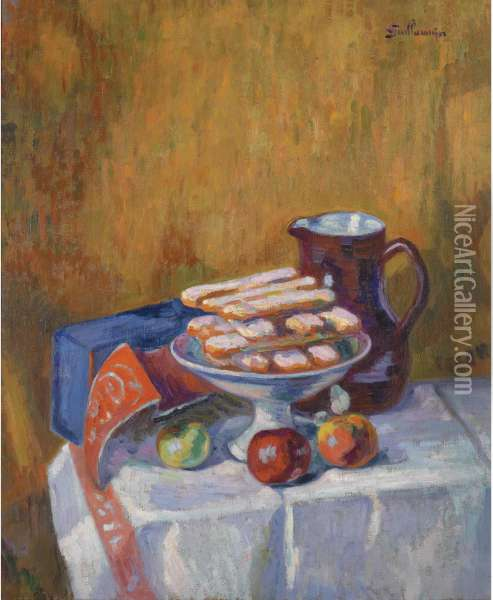 Nature Morte Aux Biscuits Oil Painting - Armand Guillaumin