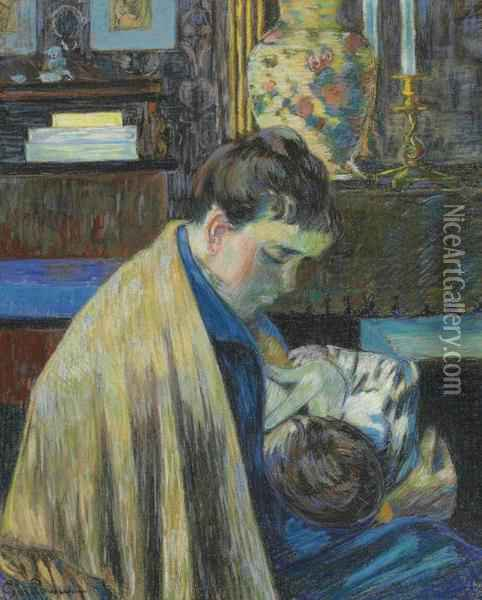 Mere Et Enfant Oil Painting - Armand Guillaumin