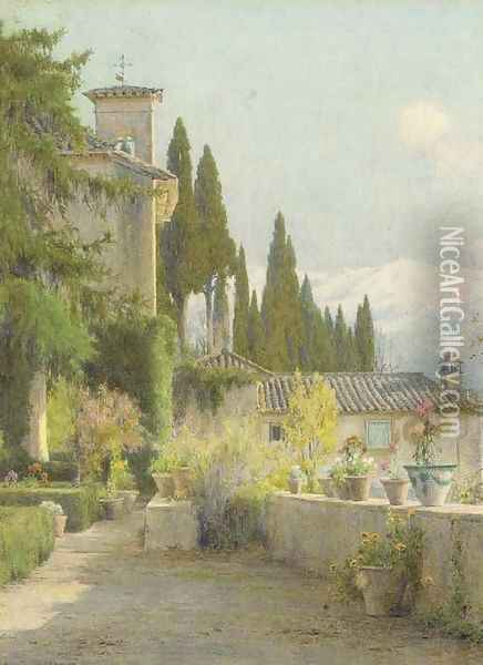 In the garden, Granada Oil Painting - George Marks