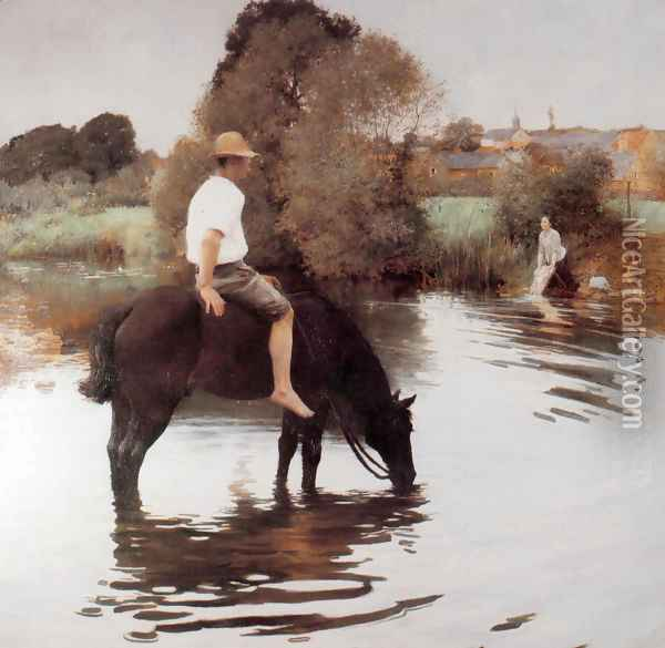 Jeune paysan faisant boire son cheval (Young Peasant Taking His Horse to the Water Hole) Oil Painting - Jules Alexis Muenier