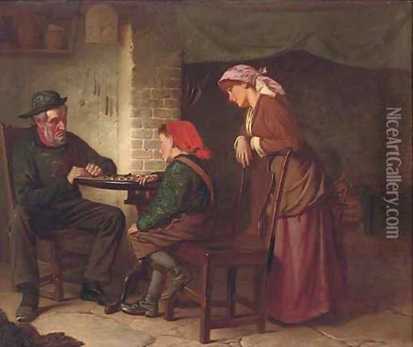 A game of draughts Oil Painting - William Henry Midwood