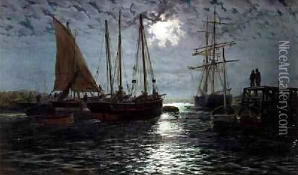 A Moonlit Harbour Oil Painting - Thomas Rose Miles