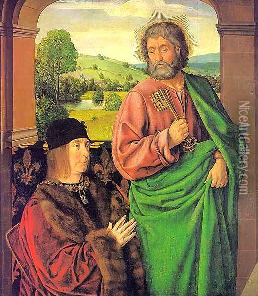 Pierre II- Duke of Bourbon, Presented by St. Peter 1492-93 Oil Painting - Master of Moulins (Jean Hey)