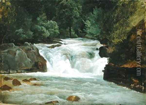 A Waterfall in Upper Bavaria 1830 Oil Painting - Christian Morgenstern
