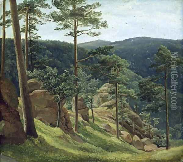 View of Mount Brocken 1829 Oil Painting - Christian Morgenstern