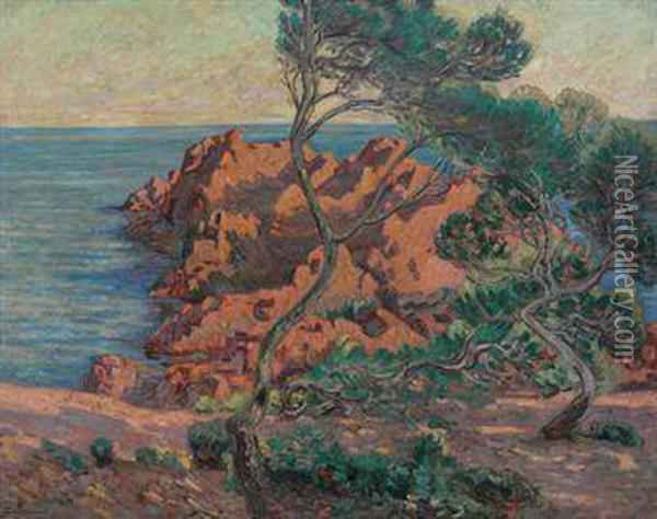 L'isle Besse A Agay Oil Painting - Armand Guillaumin