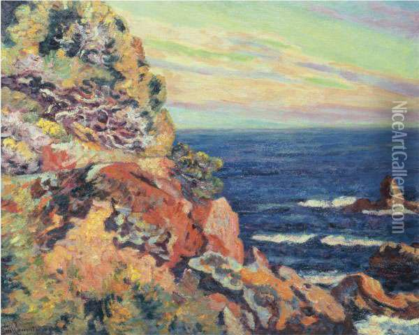 Les Baumettes A Agay Oil Painting - Armand Guillaumin