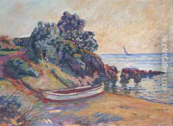 Barque A Agay Oil Painting - Armand Guillaumin