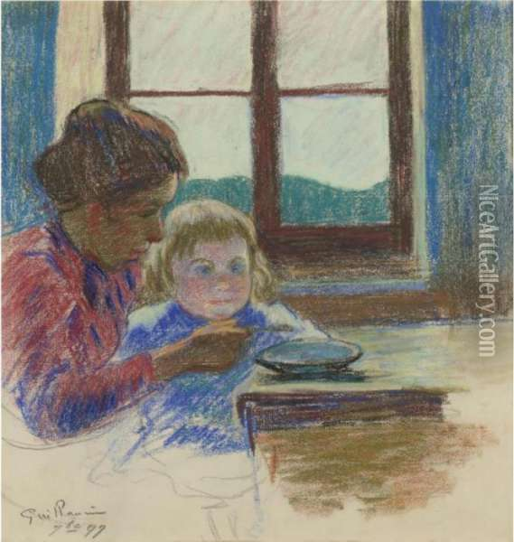Madame Guillaumin Et Son Fils Andre Oil Painting - Armand Guillaumin