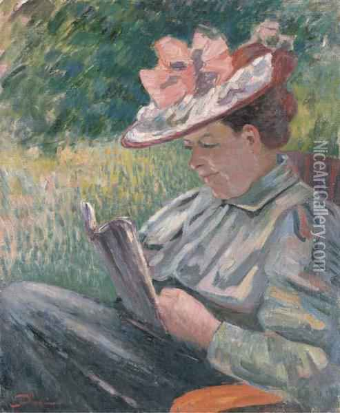 Mme Guillaumin Lisant Dans Le Jardin Oil Painting - Armand Guillaumin