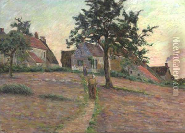 Chemin A Damiette, Soleil Couchant Oil Painting - Armand Guillaumin