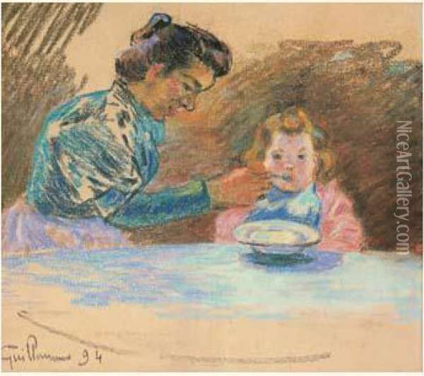 Madame Guillaumin Et Sa Fille Marguerite Oil Painting - Armand Guillaumin