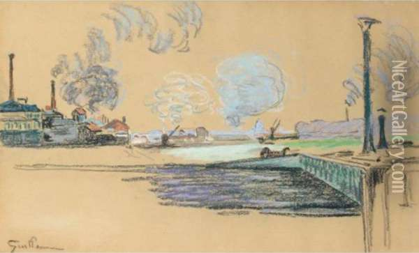 La Seine A Ivry Oil Painting - Armand Guillaumin