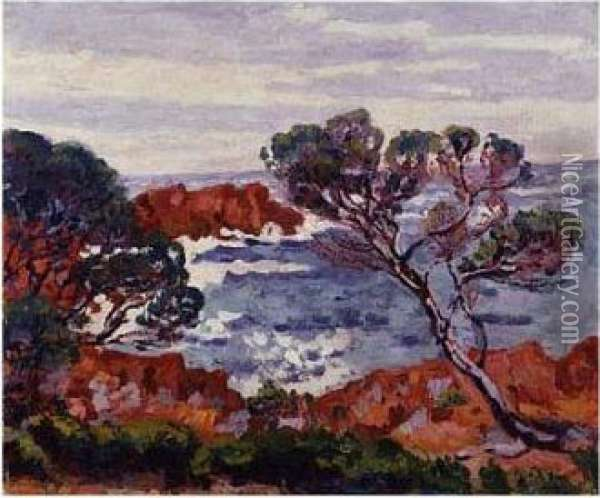 Agay, Les Rochers Rouges Oil Painting - Armand Guillaumin