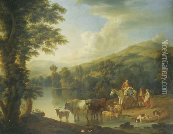 A Wooded River Landscape With A Woman On A Grey Horse With Animals Watering Oil Painting - Jacob Philipp Hackert
