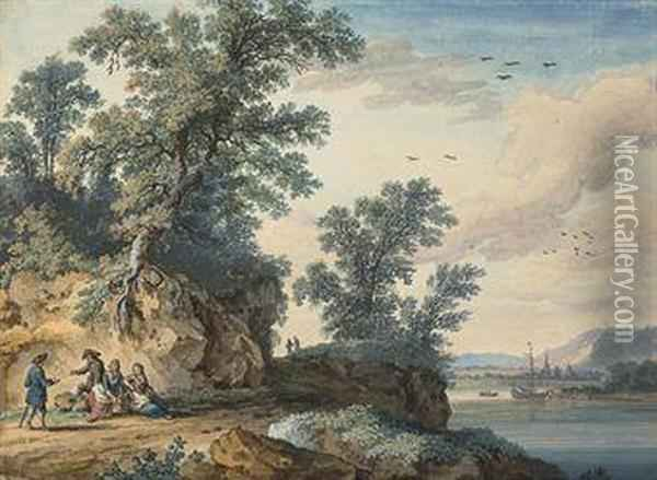 Travellers Resting Beside A River, With A Town, Possibly Rouen,beyond Oil Painting - Jacob Philipp Hackert