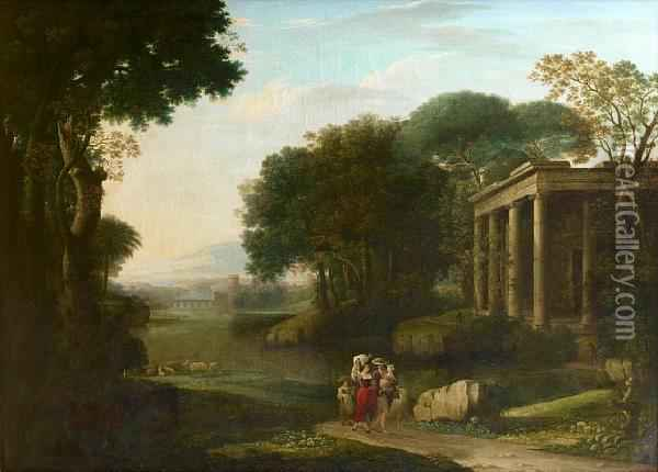 A Shepherd And Shepherdesses In An Italianate Landscape Oil Painting - Jacob Philipp Hackert