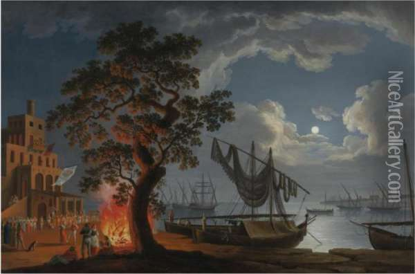 The Customs House, Naples, By Moonlight With Dancers And Musicians By A Fire Oil Painting - Jacob Philipp Hackert