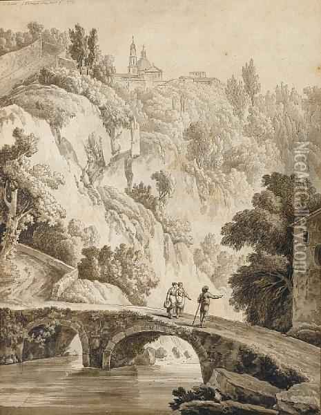 A View Of Vietri With Figures Crossing Abridge In The Foreground Oil Painting - Jacob Philipp Hackert