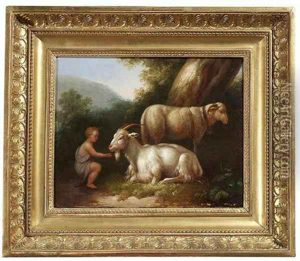 A Shepherd Boy With Goat And Sheep In A Summery Landscape Oil Painting - Jacob Philipp Hackert