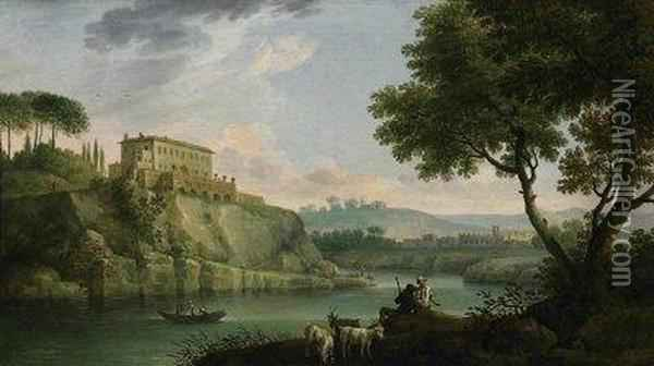 Italian River Landscape With  Shepherds. On The Surrounding Hills Are Villas And Fortified Towns Oil Painting - Jacob Philipp Hackert