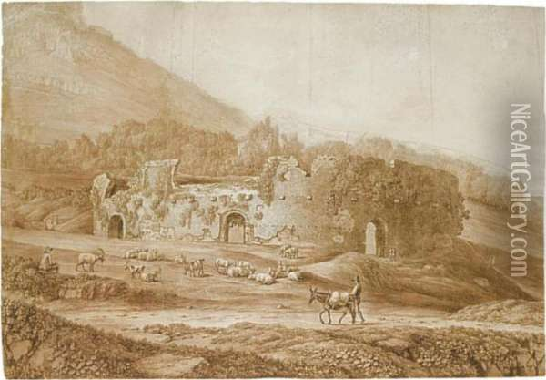 Study Of The Ruins Of An  Amphitheatre In The Countryside, With Sheep And Goats Grazing Nearby Oil Painting - Jacob Philipp Hackert