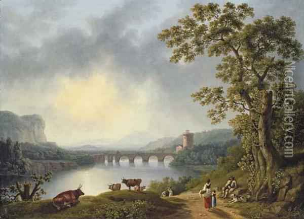 The Volturno With The Ponte Margherita Oil Painting - Jacob Philipp Hackert