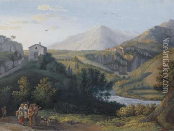 View Of The Convent Of San Cosimato, Italy Oil Painting - Jacob Philipp Hackert