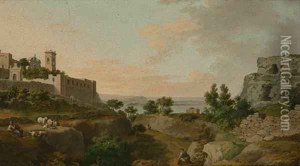 Italianate Landscape With Figures Resting Amongst Ruins, A View To A Lake Beyond Oil Painting - Jacob Philipp Hackert