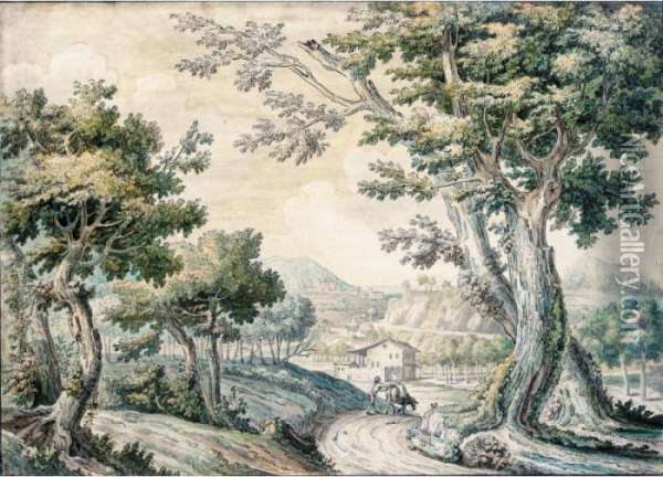 A Bosky Landscape With A Traveller And His Mule On A Road Oil Painting - Jacob Philipp Hackert