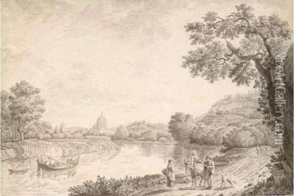 View Of Rome, With Travellers On A Path In The Foreground Oil Painting - Jacob Philipp Hackert
