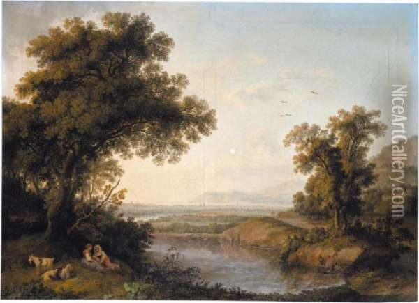An Italianate Landscape With  Shepherdesses Resting Beside A Pond, A Bay In The Distance Beyond Oil Painting - Jacob Philipp Hackert