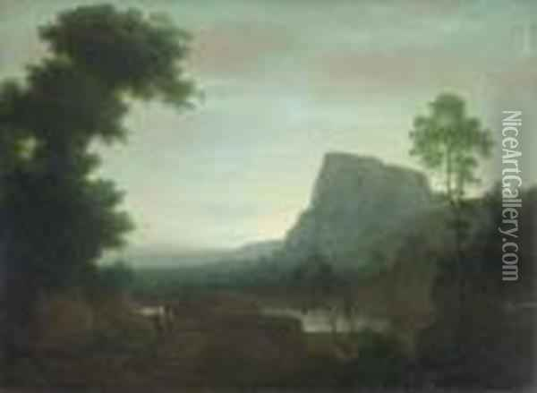 An Extensive Mountainous Landscape With The Flight From Egypt Oil Painting - Jacob Philipp Hackert