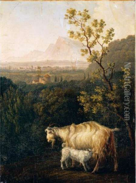 Italianate Landscape With A Goat And Her Kid Oil Painting - Jacob Philipp Hackert