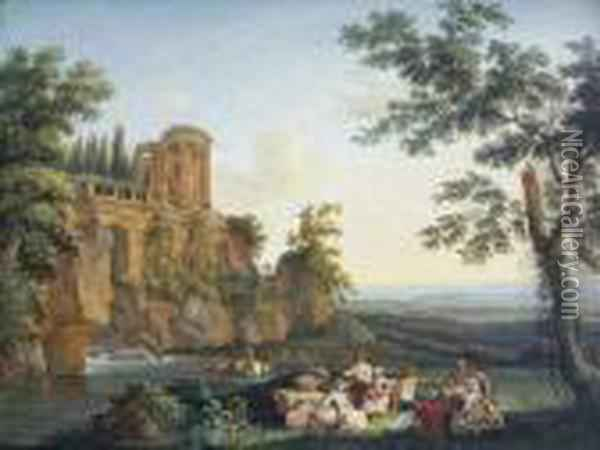 Le Temple De La Sibille A Tivoli Oil Painting - Jacob Philipp Hackert
