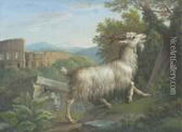 A Goat Eating By The Colosseum, Rome; And A Stag Eating, A Lakebeyond Oil Painting - Jacob Philipp Hackert