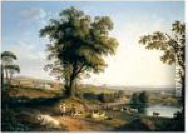 A Panoramic Landscape In The  Roman Campagna With A Distant Prospect Of The Villa Albani Near Rome,  Peasants With Goats And Cattle Beneath A Great Tree In The Foreground. Oil Painting - Jacob Philipp Hackert