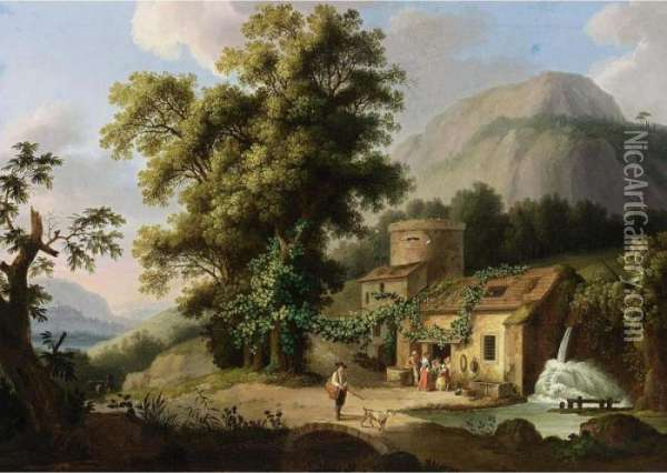 A View Of The Copper-mill In Vietri Oil Painting - Jacob Philipp Hackert