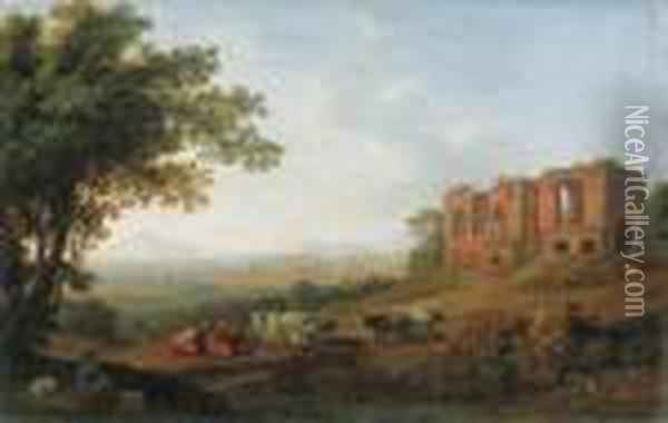 A View Of The Roman Campagna By The Appian Way Oil Painting - Jacob Philipp Hackert