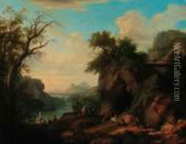A Mountainous Wooded River  Landscape With A Goatherd And Flock,peasant Women In The Foreground Oil Painting - Jacob Philipp Hackert
